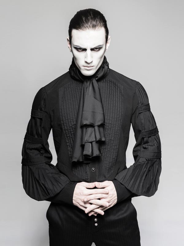 Mens Gentleman's Steampunk Shirt with Removable Necktie
