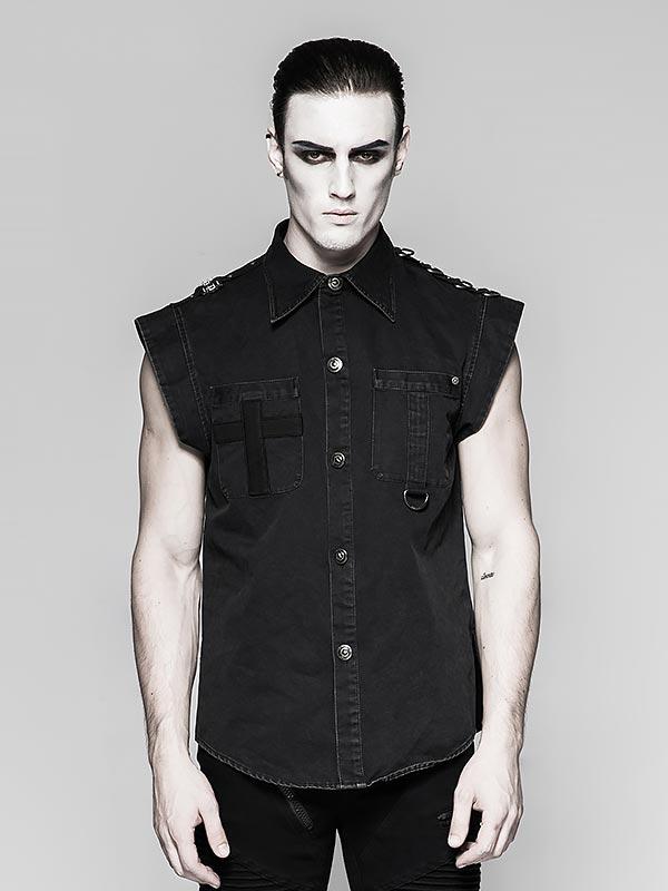 Mens Military Inspired Short Sleeve Shirt - Black