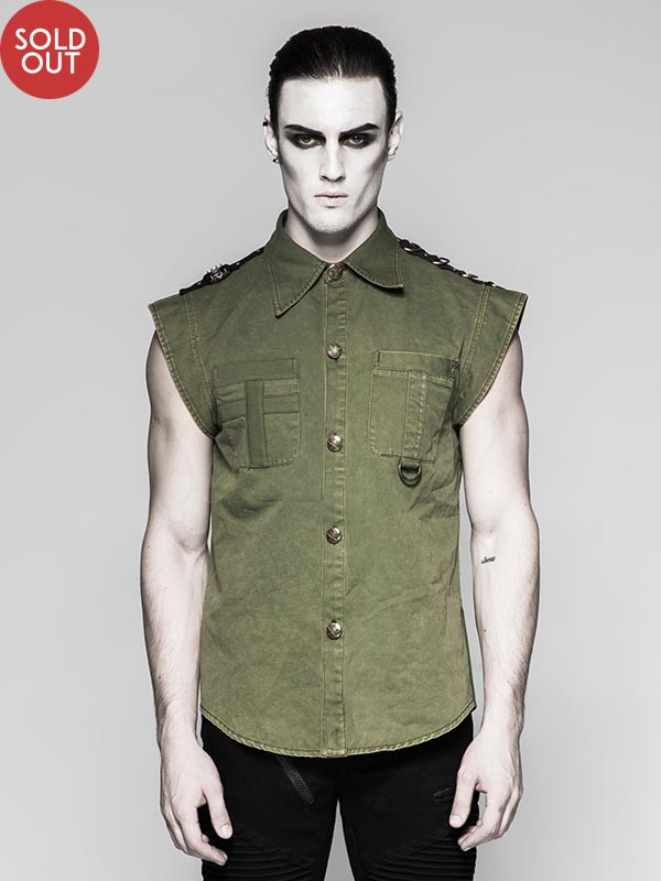 Mens Military Inspired Short Sleeve Shirt - Green