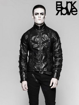 Mens Dark Underworld Punk Leather Jacket