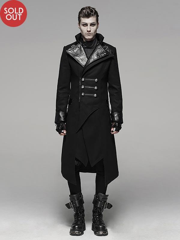 Mens Punk Military Inspired Long Coat