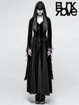 Gothic Dark Goddess Long Coat with Hood