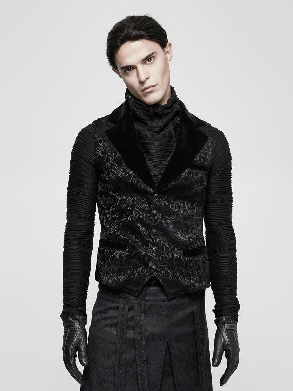 Mens Steampunk Black Vintage Jacquard Waistcoat
