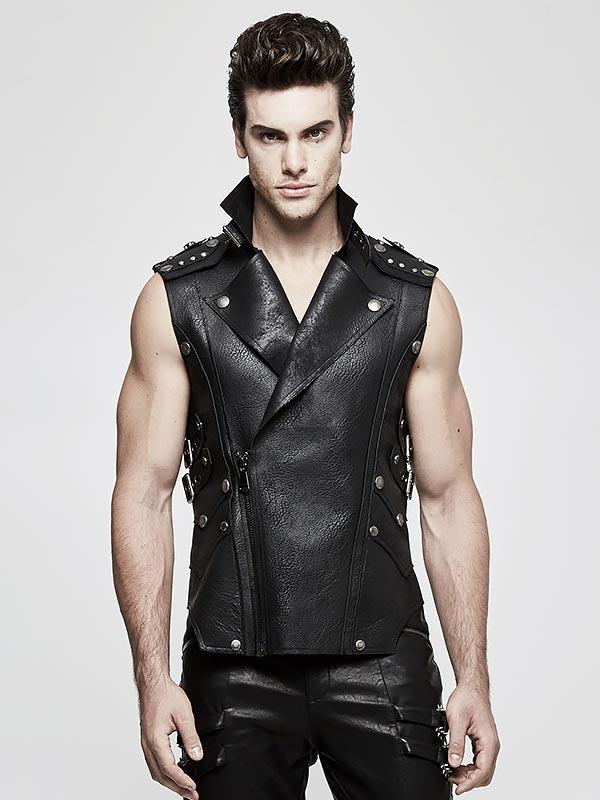 Mens Heavy Metal Punk Waistcoat Vest