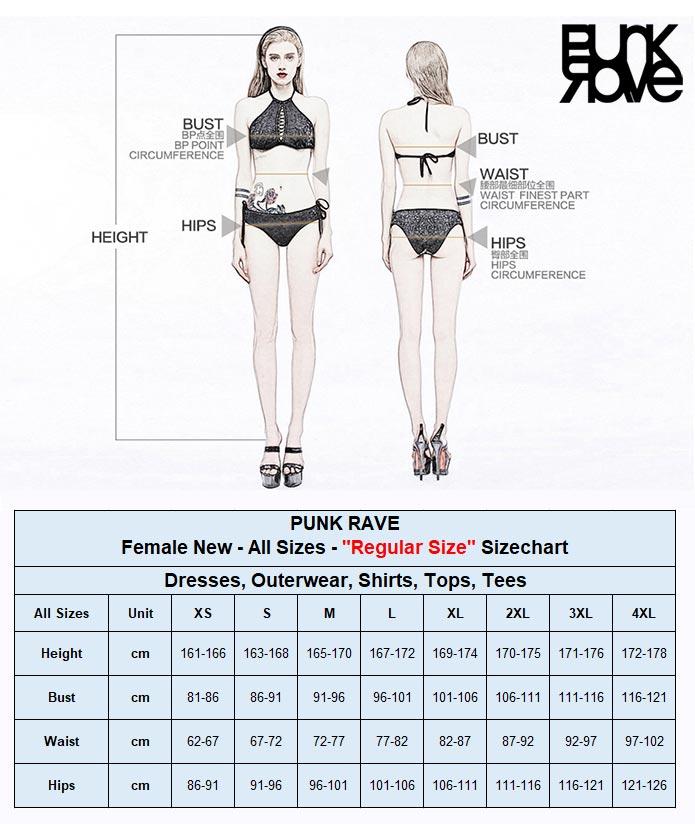2021 New Female Regular Size Chart